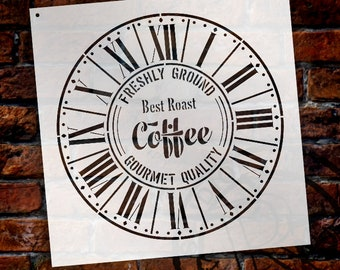 Round Coffee Clock Stencil - Parisian Roman Numerals - DIY Painting Rustic Wood Clocks Small to Extra Large for Home Decor  - SELECT SIZE