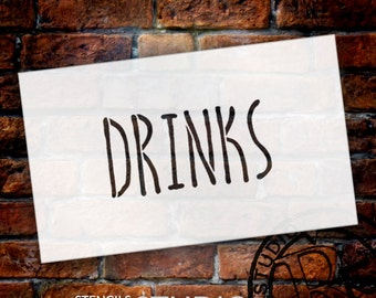 Wedding Sign Stencil - Drinks - Skinny Hand - Select Size- STCL1661 - by StudioR12