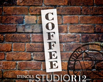 Coffee - Farmhouse Serif - Vertical - Word Stencil - Select Size - STCL1966 - by StudioR12