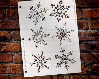 "Fancy Snowflake Stencil by StudioR12 - Reusable, Art, Christmas, Holiday, Santa, Painting,Window, Mixed Media, Chalk- 8"" X 10"" - STCL162_1"