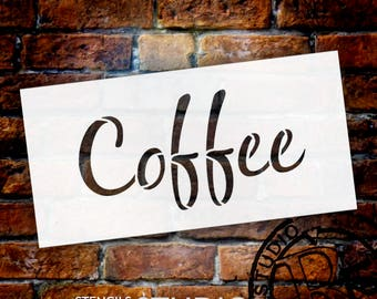 Coffee Word Art Stencil - Casual Script - Select Size - STCL831 by StudioR12