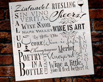 Wine Background Word Stencil - Select Size - STCL231 - by StudioR12