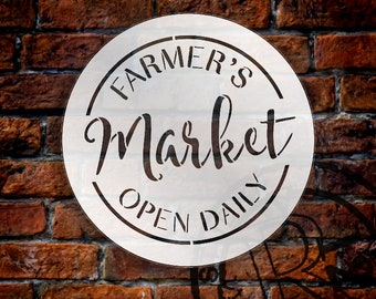 Farmer's Market Open Daily Stencil by StudioR12 | Country Word Art | Reusable Mylar Template | Use to Paint Wood Signs - SELECT SIZE