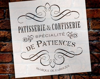 Vintage French Bakery Stencil by StudioR12 | Patisserie and Confiseri Word Art - Reusable Mylar Template | For Painting Wood Signs | ...