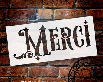"Merci Word Stencil - Ornate Victorian - 6"" x 3"" - STCL911_1 - by StudioR12"