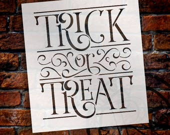 Elegant Trick or Treat - Word Art Stencil -  Select Size - STCL1986 - by StudioR12