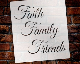Faith Family Friends - Word Stencil - Select Size - STCL1213 - by StudioR12