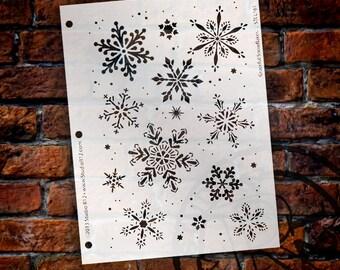 "Graceful Snowflake Stencil by StudioR12 - Christmas, Holiday, Santa, Painting, Journaling, Window, Mixed Media, Chalk- 7 5/8"" X 10-STCL161"