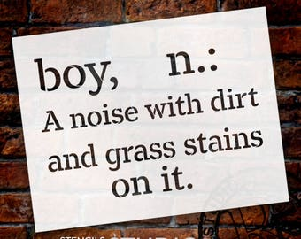 Boy - Noise Dirt Stains - Word Stencil - Stencil - STCL2170 - by StudioR12