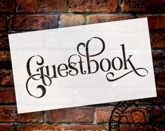 Wedding Sign Stencil - Guestbook - Elegant Traditional - Select Size- STCL1669 - by StudioR12