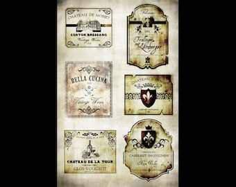 """Wine Labels Collage Papers - 10 1/2"""" x 16"""" - CLPR0005 - by StudioR12"""