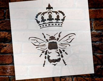Queen Bee Stencil by StudioR12   Reusable Mylar   Use for Painting Wood, Fabric, Furniture   Shabby Chic,French Home Decor   CHOOSE SIZE