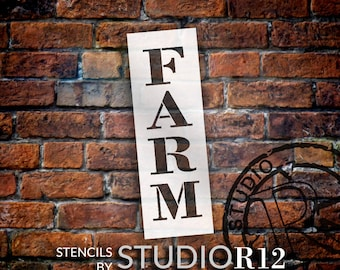 Farm - Farmhouse Serif - Vertical - Word Stencil - Select Size - STCL1964 - by StudioR12