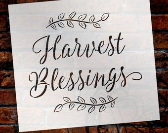 Harvest Blessings Stencil by StudioR12 | Reusable Mylar Template | Fall style - Use to Paint Wood Signs - DIY Home Decor - SELECT SIZE