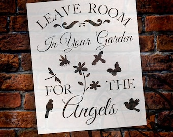 "Leave Room In The Garden For The Angels - Art Stencil - 11.5"" x 14"" - STCL1222 - by StudioR12"