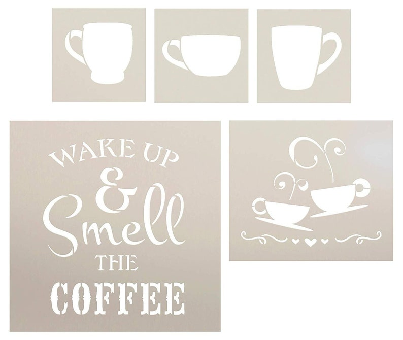 a221e5f0bc1 Wake Up and Smell The Coffee with Cups Stencil Set - 5 Piece by StudioR12 |  Reusable Mylar Template | Use to Paint Wood Signs - Walls