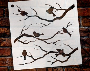 Birds & Branches Stencil by StudioR12 | Reusable Mylar | Crafters and Sign Makers can Paint DIY Nature Home Decor SELECT SIZE - STCL1021