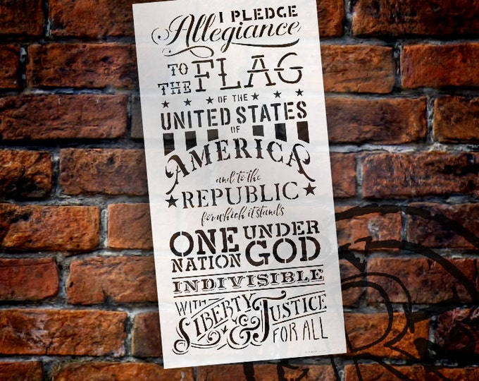 """Featured listing image: Pledge Of Allegiance Word Stencil - 12"""" x 24"""" - STCL1250 - by StudioR12"""