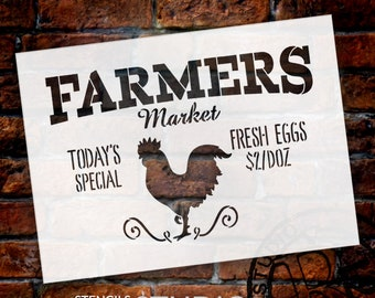 Farmers Market - Today's Special - Fresh Eggs 2/Doz Word Stencil by StudioR12 - Rooster Word Art - STCL2186 - SELECT SIZE