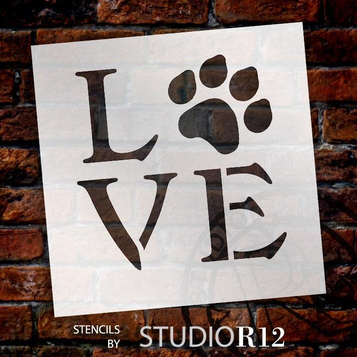Liebe mit Hund Pfote Druck Schablone durch StudioR12   Etsy