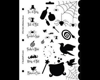 "Witches Brew Stencil - 8 1/2"" x 11"" - SKU:STCL105"
