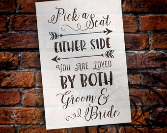 Pick A Seat, Either Side - Wedding Stencil - Select Size - STCL1581 - by StudioR12