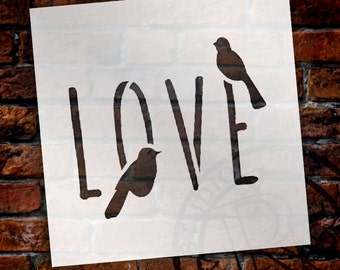 Bird Love - Word Art Stencil - Select Size - STCL1820 - by StudioR12