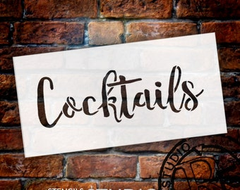 Wedding Sign Stencil - Cocktails - Rustic Script - Select Size- STCL1615 - by StudioR12
