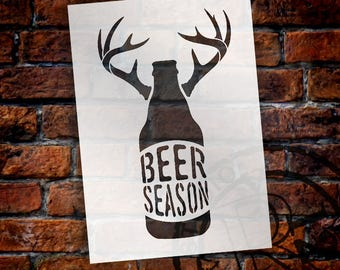 Beer Season - Bottle With Antlers - Word Art Stencil - Select Size - STCL1883 - by StudioR12