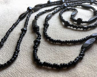 8 Black Mourning Beads~18 mm~Victorian Mourning Beads~Jet Glass Beads~Square Glass Beads~Faceted Black Bead~Jewelry Beads~Millinery Bead~#99