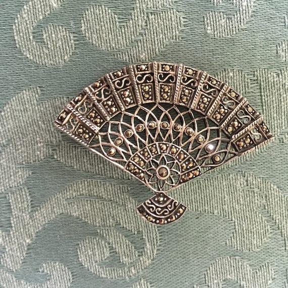 Vintage Sterling Silver Hand Fan Motif Convertible Brooch Pendant