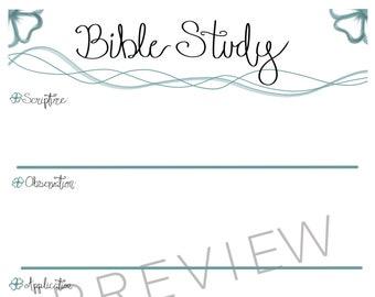 DIGITAL DOWNLOAD // Bible Study Note Sheet // SOAP Method