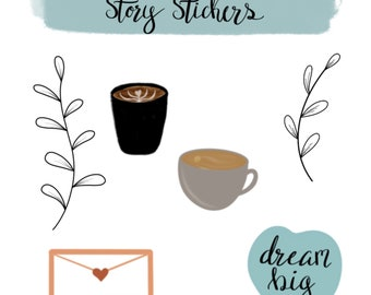 Set of 12 individual story stickers for use with instagram // Stay Home Pack
