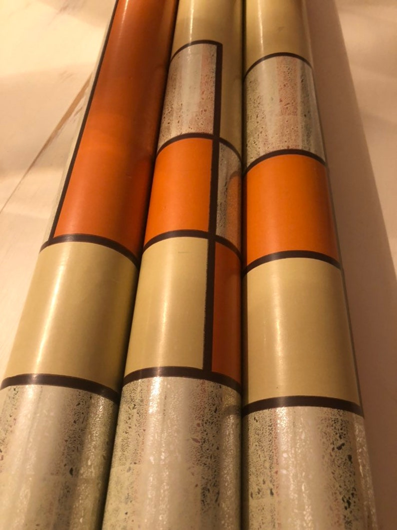 Vintage 60/'s or 70/'s Retro NOS Mid Century Modern Graphic Geometric Pattern Hand Printed Screen Printed Metallic Vinly Wallpaper Double Roll