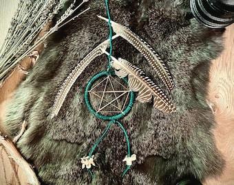 Teal Witch's Ladder Pentagram Wall Hanger