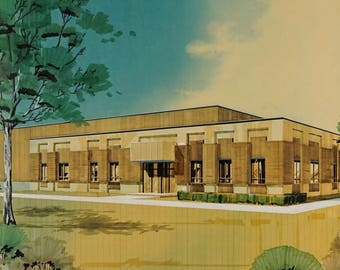 1976 KRC Mid Century Modern Architectural Rendering Design Watercolor Business Office Building