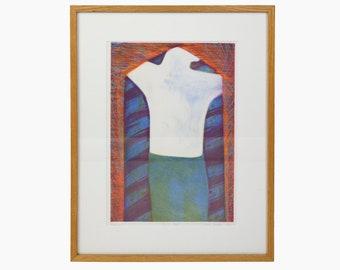 1983 Yvonne Leonard Intaglio Print Abstract Art Vintage Color