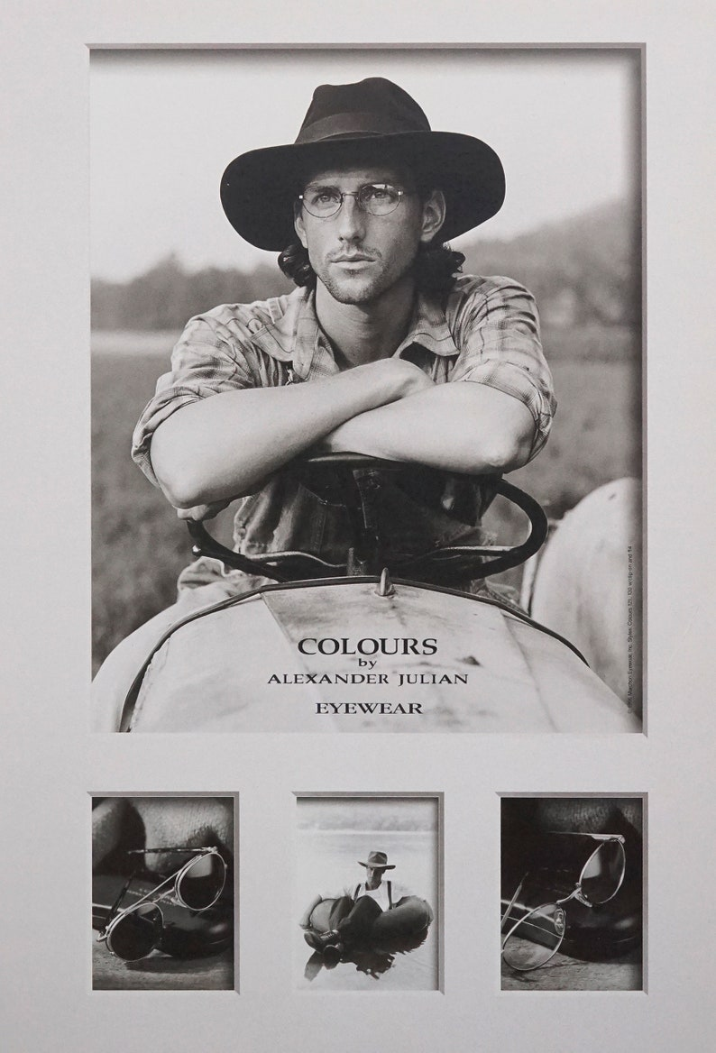 1996 Colours by Alexander Julian Eyewear Poster Sepia Male Model Fashion Photograph Photography