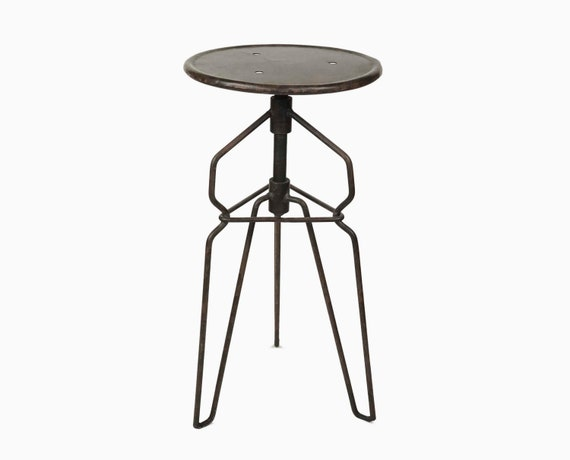 Handmade Rotating Industrial Stool Metal Chair Artist Studio Adjustable