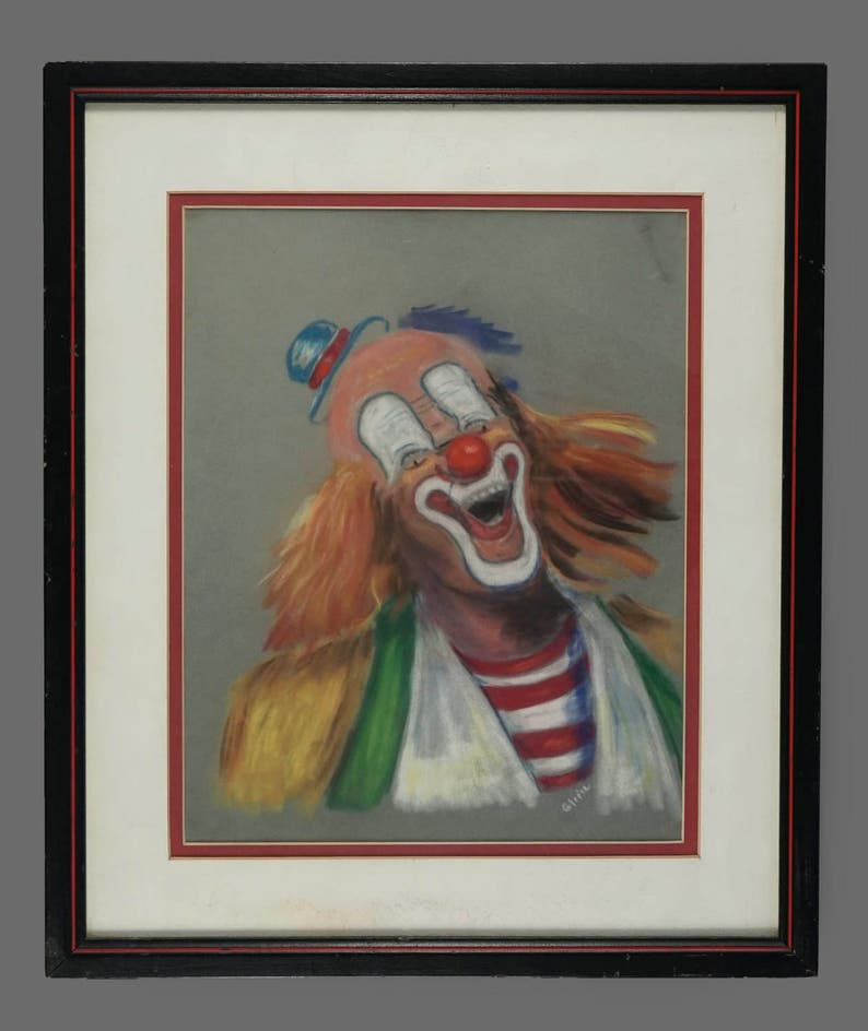 Vintage Clown Pastel Op Fluweel Tekening Circus Kunst Etsy