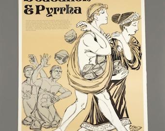 1972 Deucalion and Pyrrha Poster Greek Mythology Laminate The Perfection Form Company