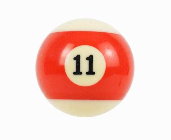Number 11 Striped Pool Ball Clay Billiard Ball Size 2.25 Eleven XI Red Stripe
