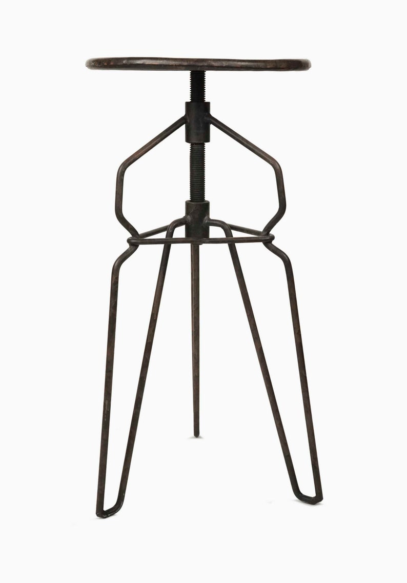 Handmade Rotating  Industrial Stool Metal Chair Artist Studio Adjustable