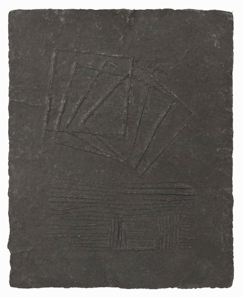John Tuska Cast Paper Relief Black Abstract