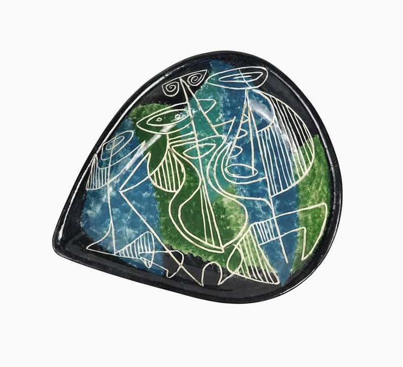 1952 Rosefflary Ceramic Round Platter Vase Plate MCM MOD Mid Century Modern Art