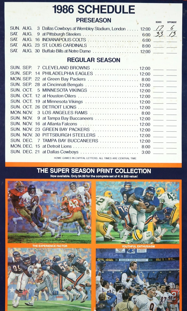 1986 Chicago Bears World Champion Schedule Sears WGN Radio Promo Poster 22  x 17 5 Vintage Poster