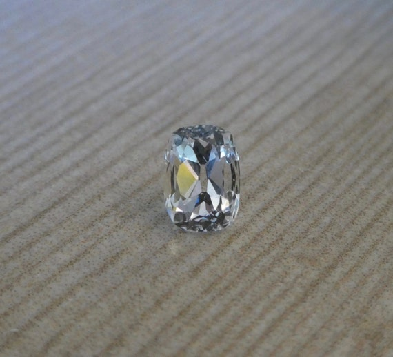 Chunky 7x5 millimeter Hand Cut Old Mine Antique Cushion Cut Loose White Sapphire 1.47 carats