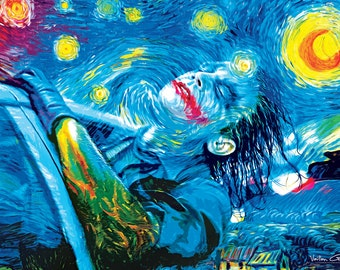The Starry Knight 36 inch x 24 inch large poster (Van Gogh Joker Tribute)