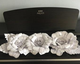 Music Paper Flowers ~ Music Lover Gift ~Music Note Flower ~ Concert Flowers ~ Musician Gift ~ Music Page Rose