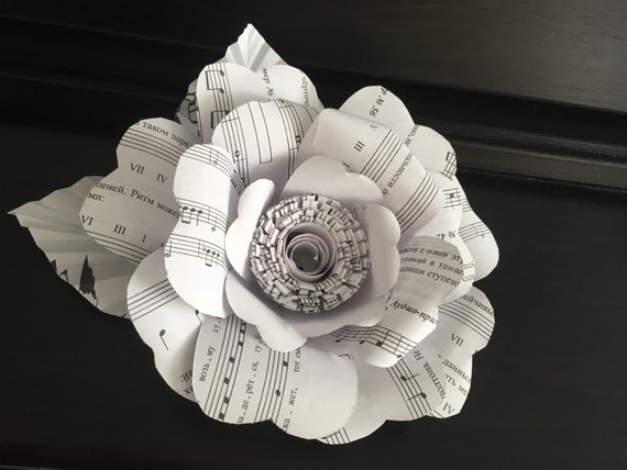 Music paper flowers 7 in music note flowers concert etsy image 0 mightylinksfo